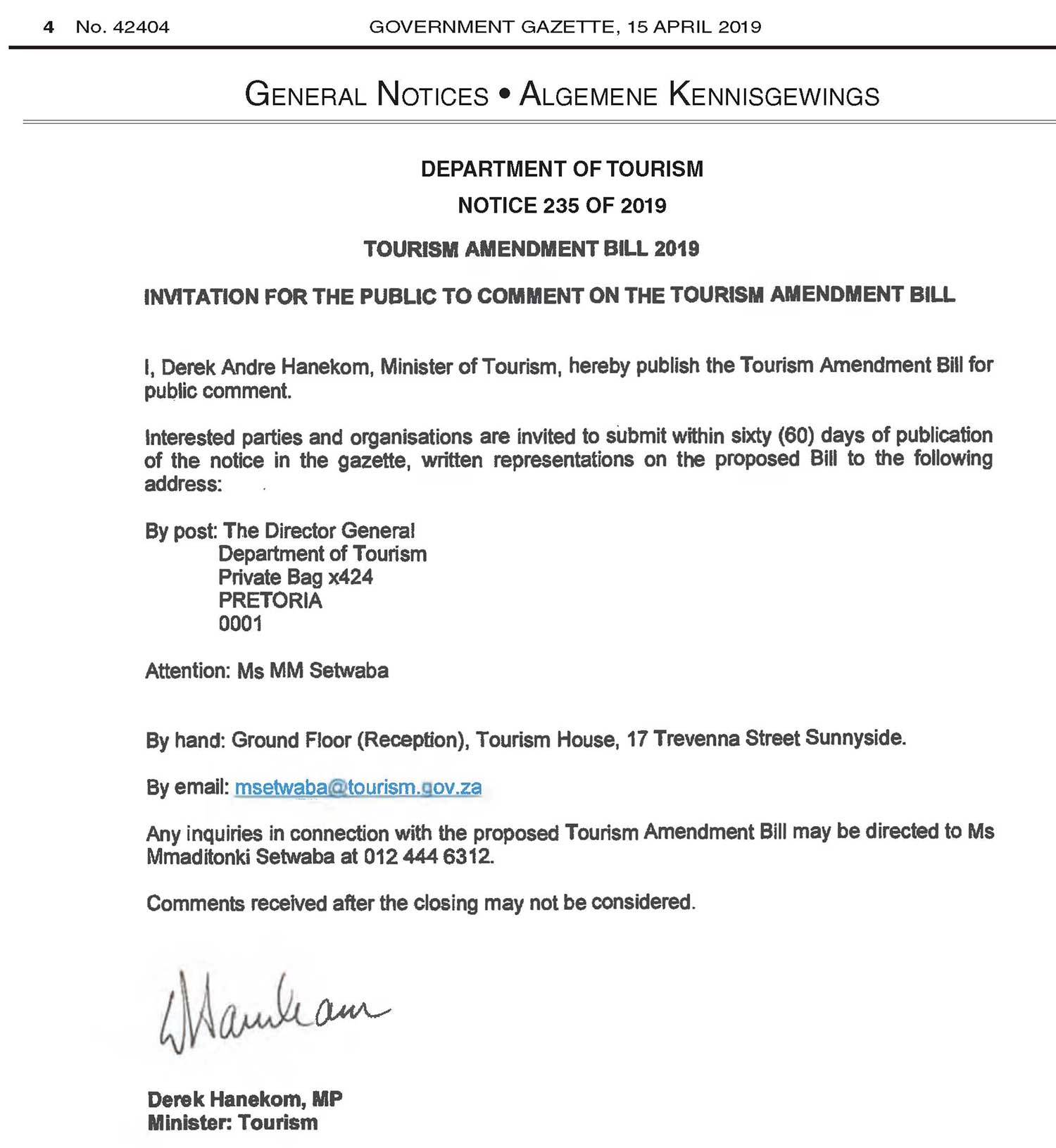Tourism Draft Amendment Bill - Notice 235 of 2019