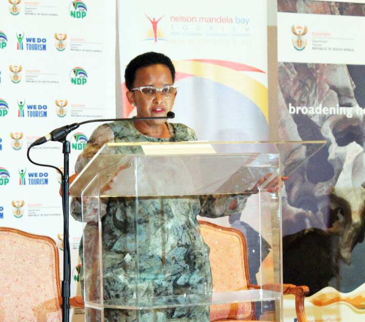 Minister of Tourism, Ms Toko Xasa, delivers a key note address at the Women in Tourism (WiT) Conference in Port Elizabeth